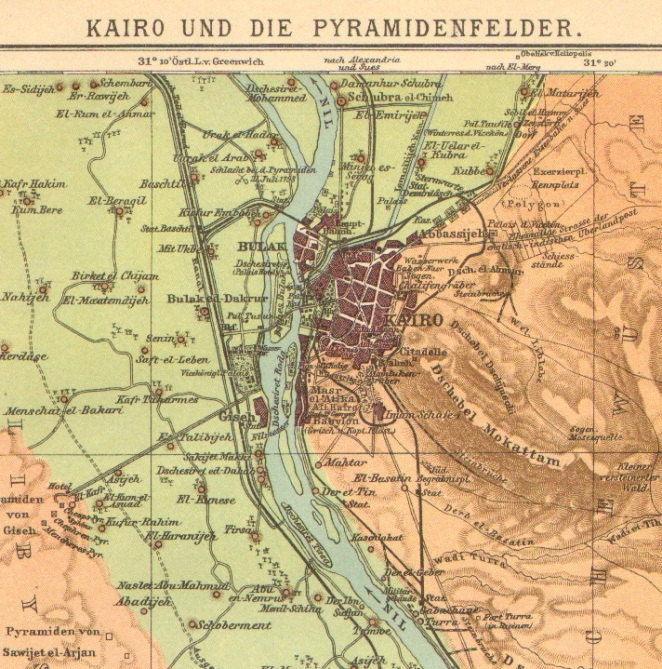 1904 Original Antique Dated Map of Cairo and the Pyramids, Sakkara, Memphis, Egypt - CabinetOfTreasures