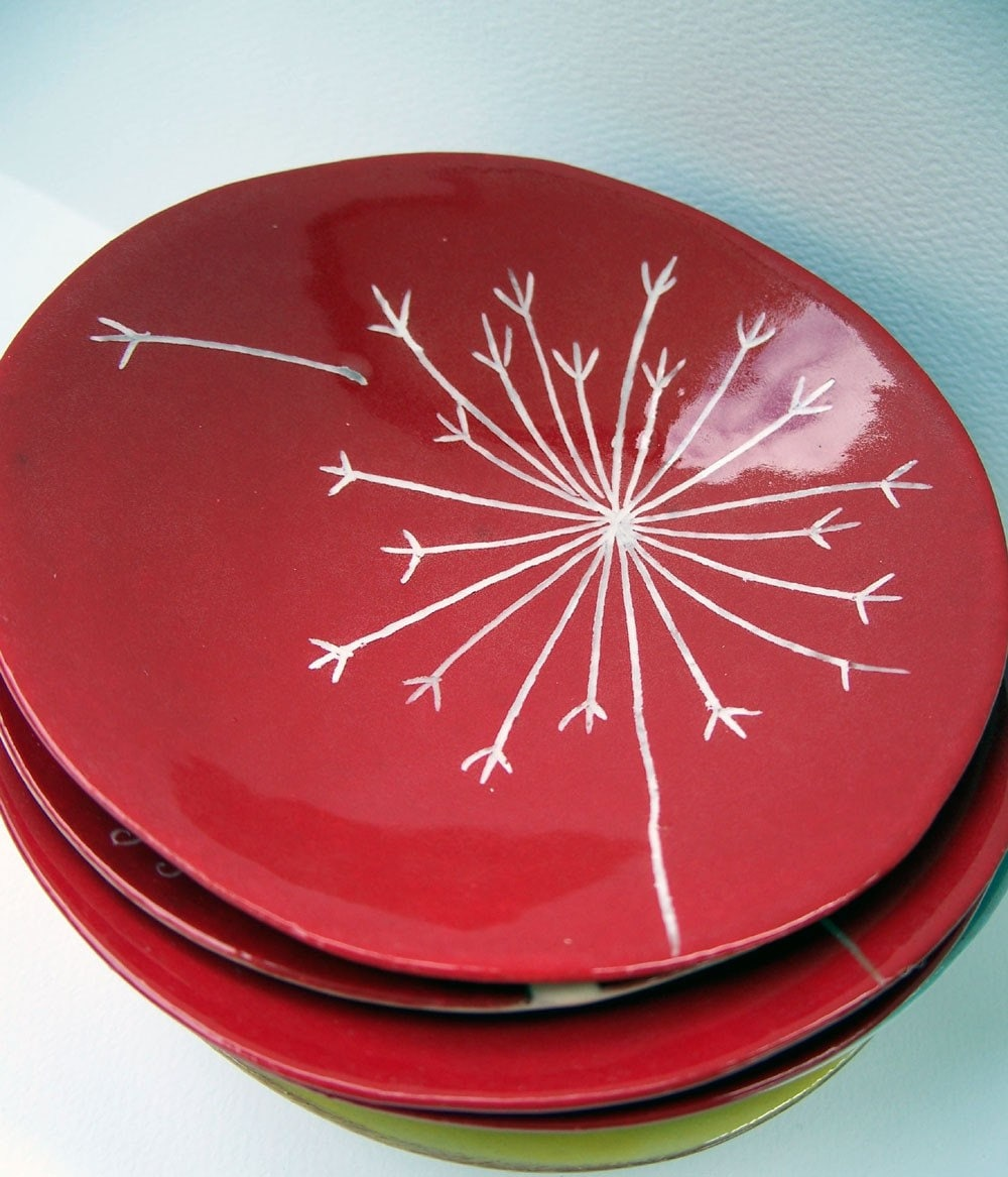 Graduation Gift Wish Flower Plate in Red