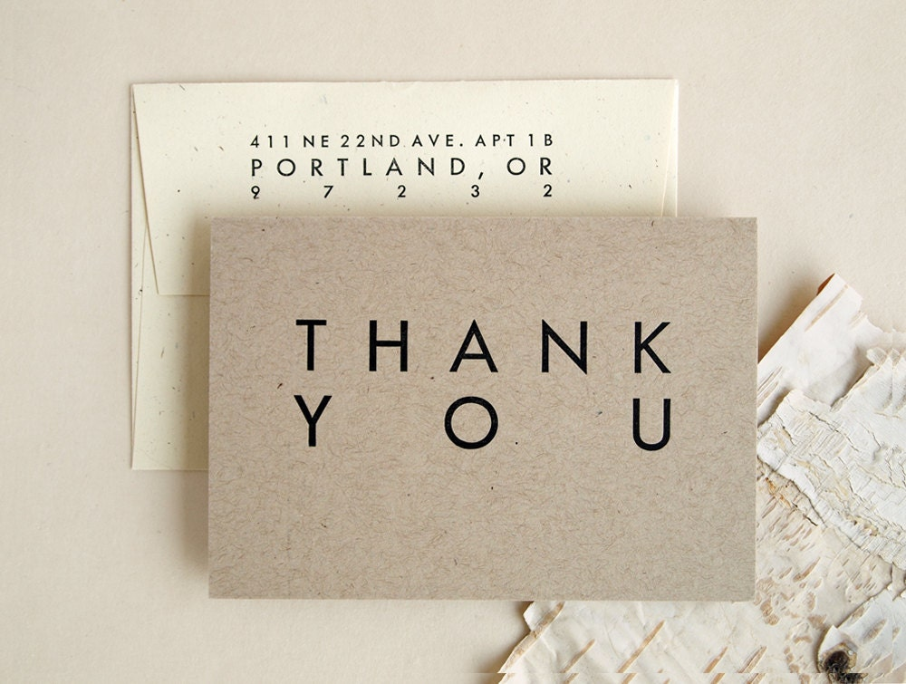 Wedding Thank You Cards Rustic Modern Style By Seabornpress