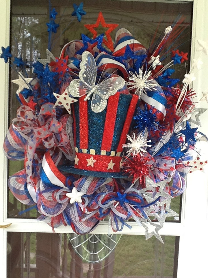 Light Up Deco Mesh 4th Of July Wreath By Wreathsetc On Etsy