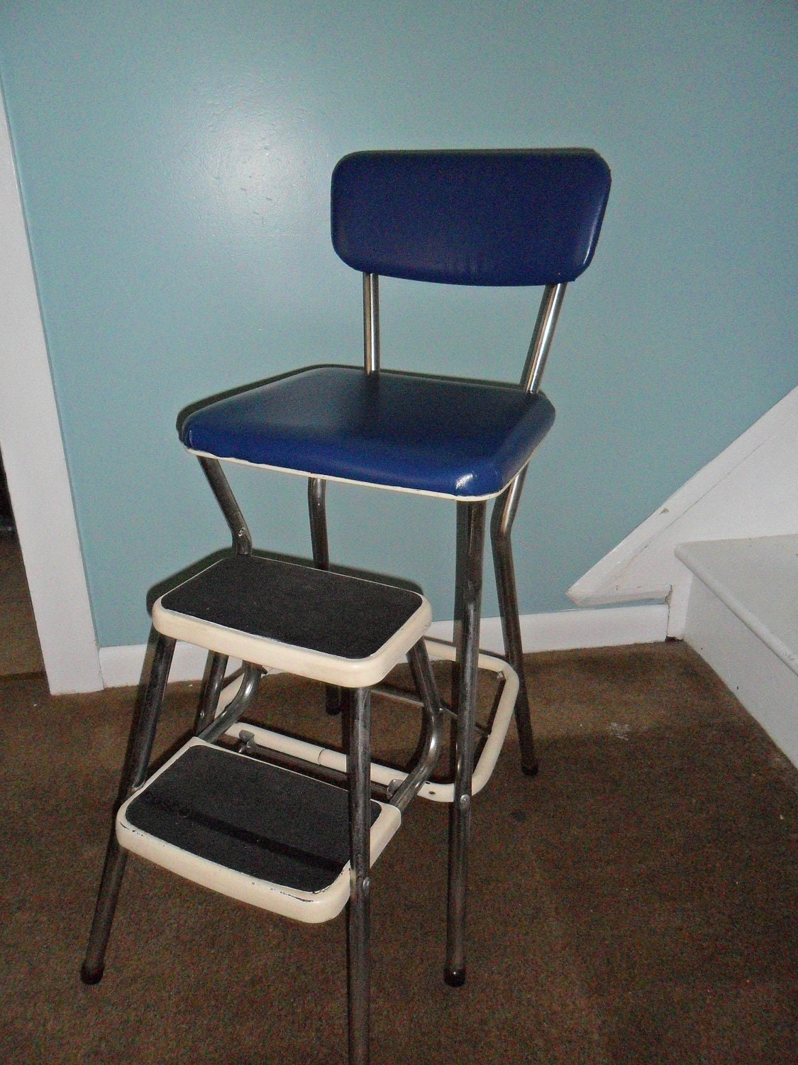 Vintage Cosco Royal Blue Kitchen Step Stool By