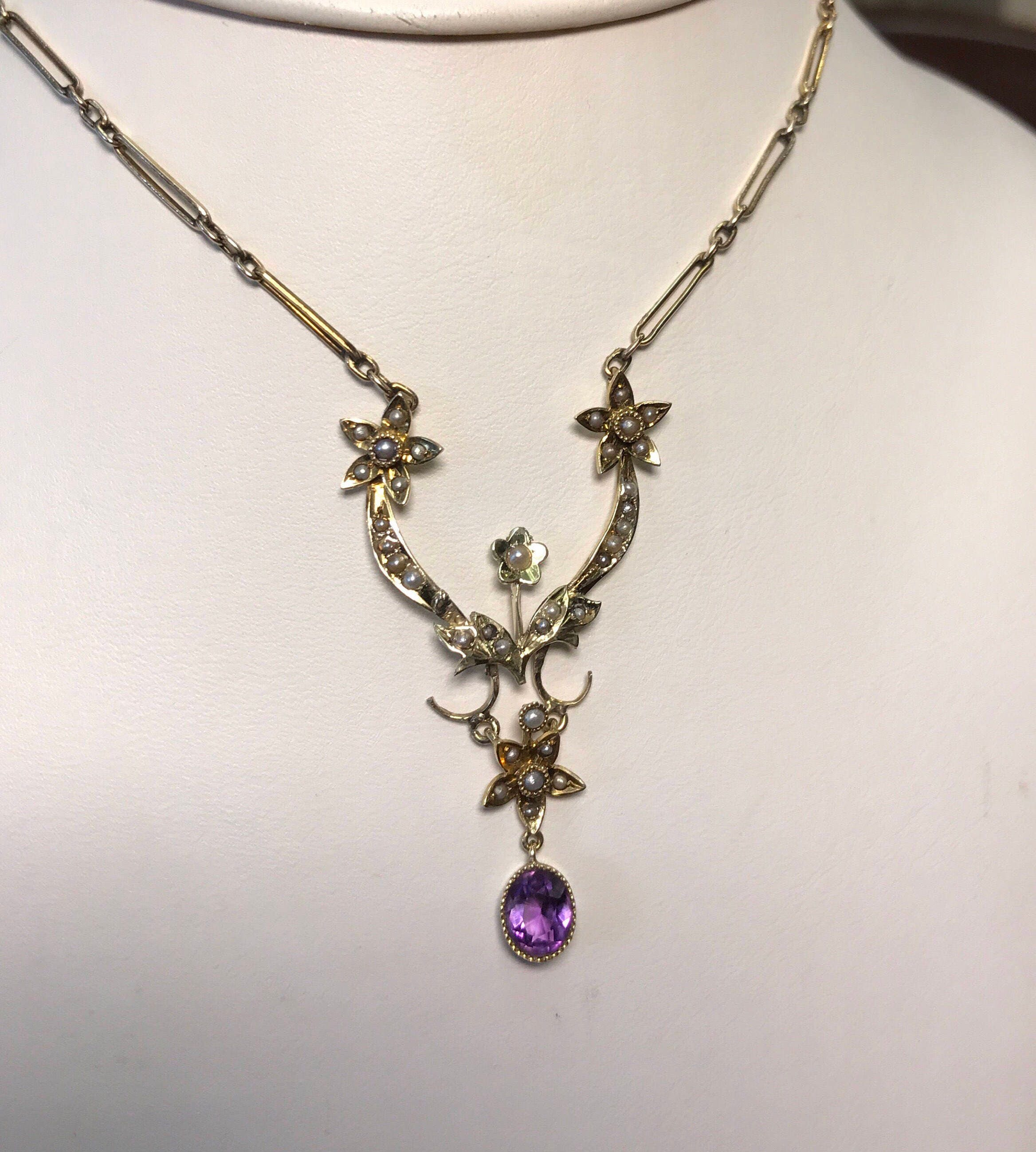 antique edwardian 14k carat gold lavalier pendant necklace amethyst seed pearl on 9k chain