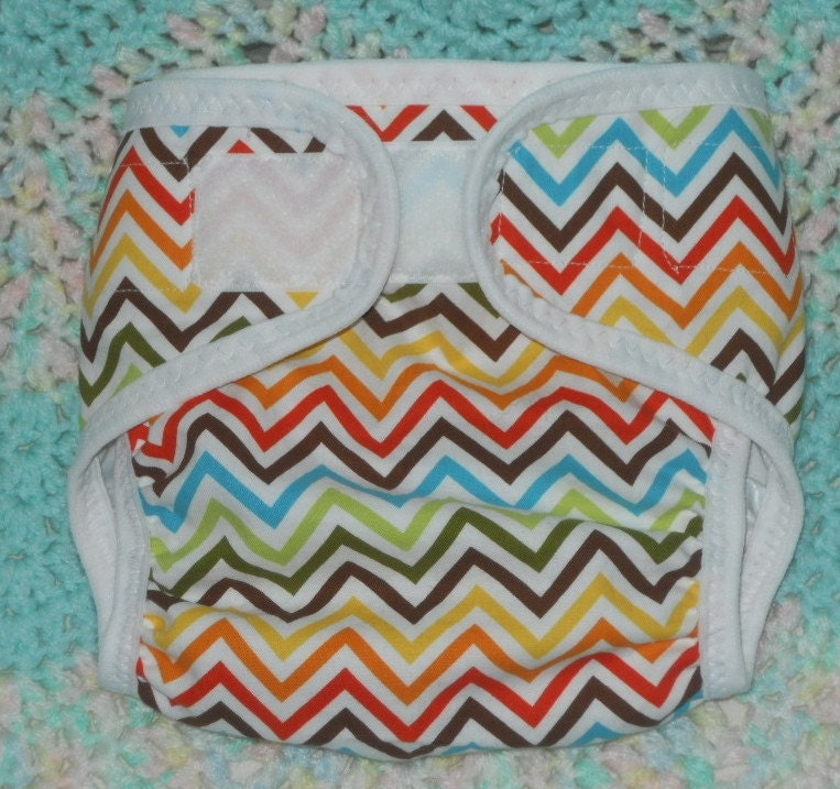 Wild zig zag waterproof PUL cloth diaper cover, XS, S, M, or L available