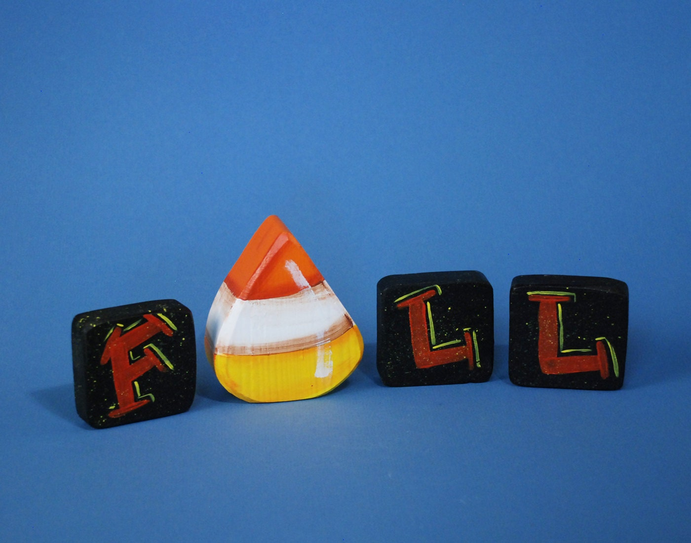 Fall Wood Blocks Candy Corn Decoration Shelf Sitter