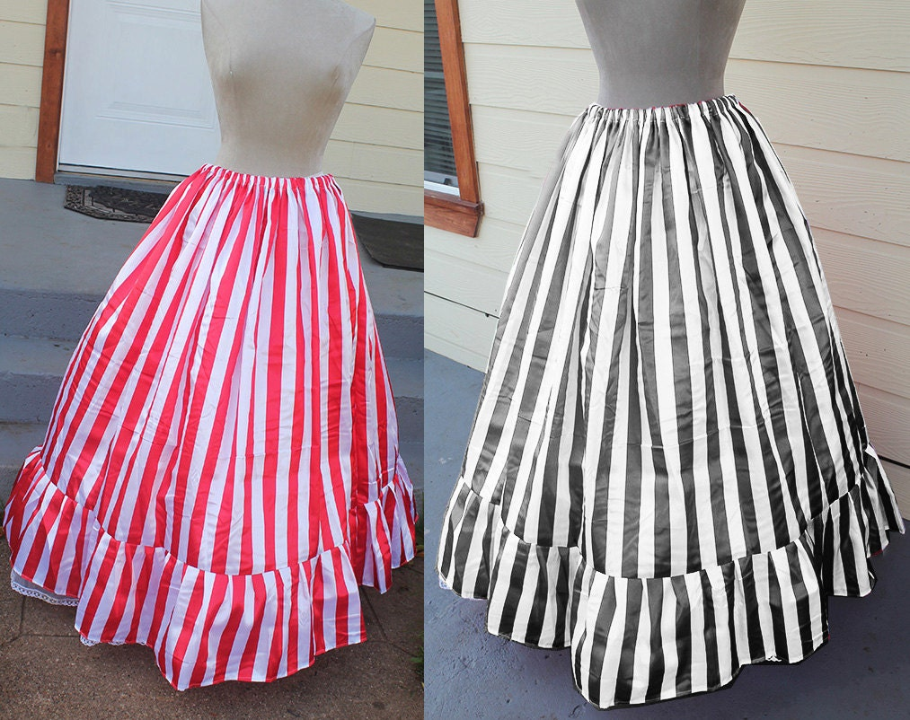 Pirate Candy Steampunk Victorian Ruffled Skirt Custom Sized Red or Black $79.99 AT vintagedancer.com