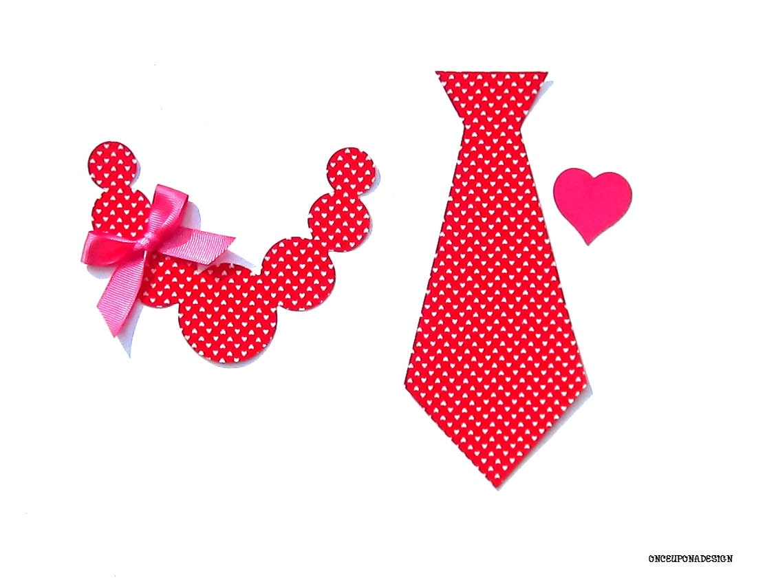 Valentine's Day Brother/Sister/Twins Necklace & Tie...Fabric Iron On Applique Set...Ribbon Included - OnceUponaDesign