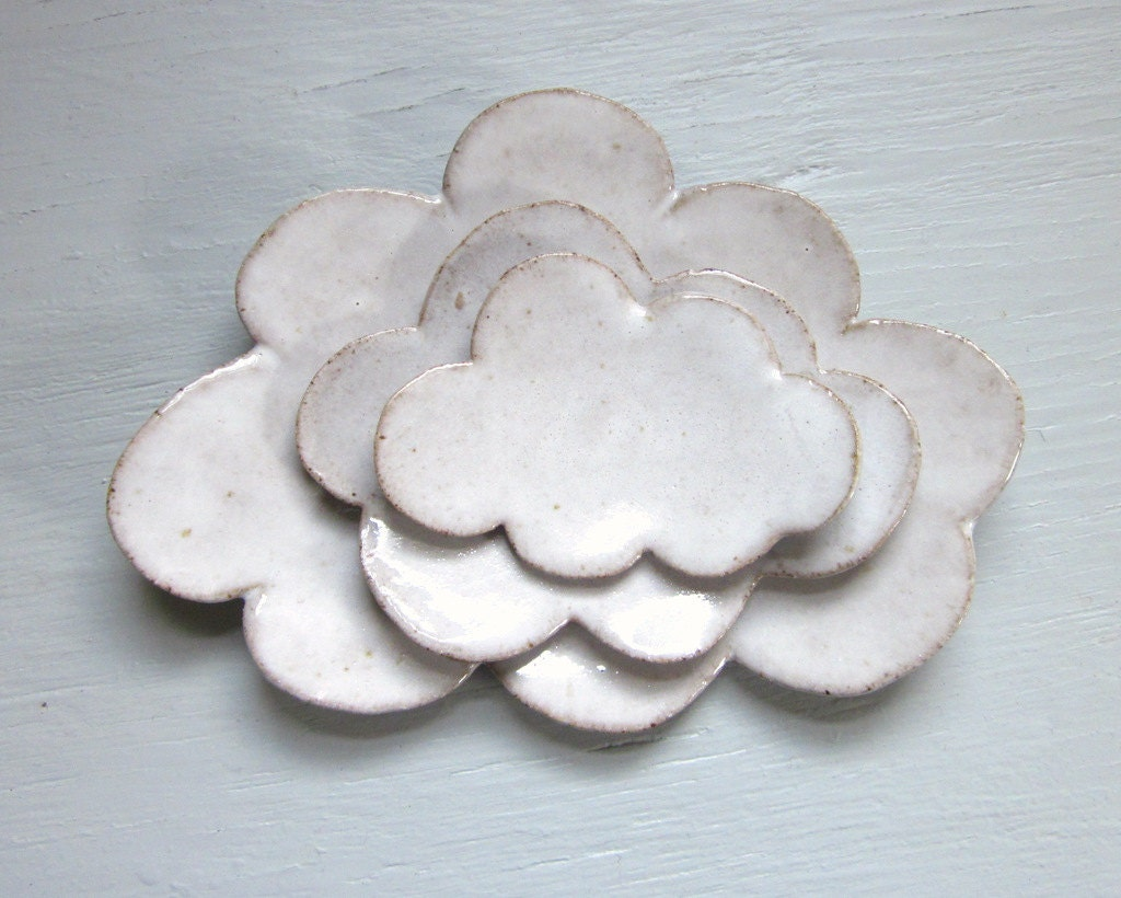 made to order - nesting cloud plates white trinket dishes tea bag holder sushi plates spoon rest pottery ceramic - JDWolfePottery