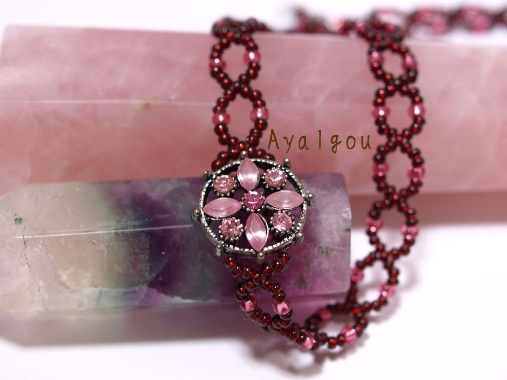 cherry pink choker necklace