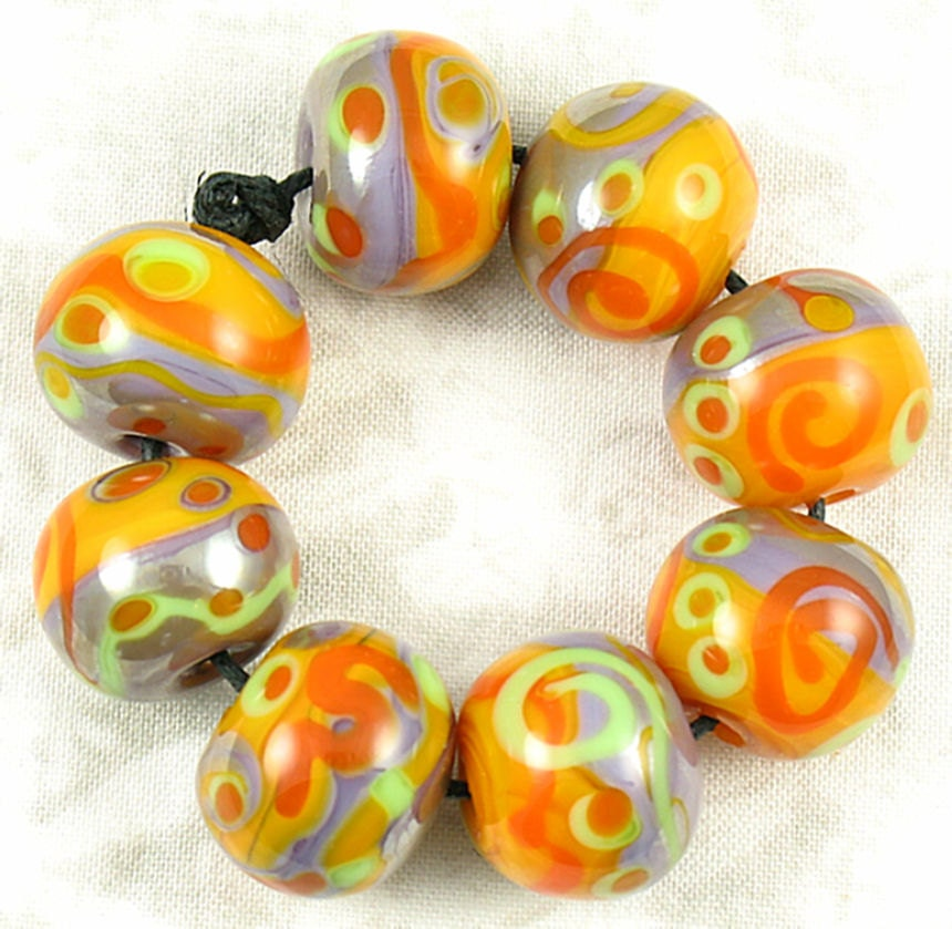 Handmade Lampwork Tribal  Round Glass Bead Set Free USA Shipping