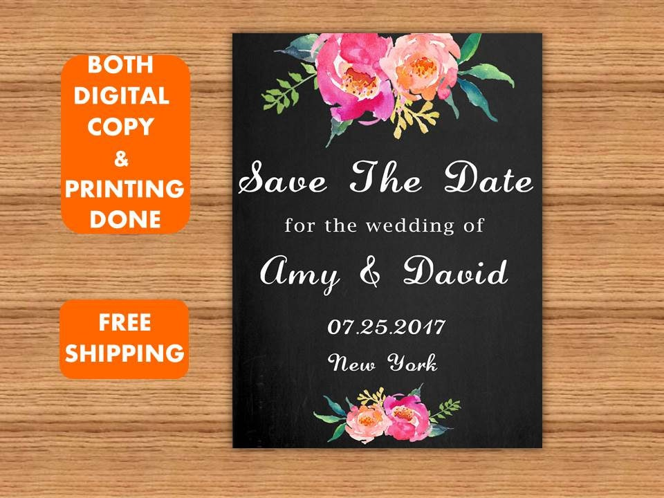 Watercolor Pink Floral Save The date Printed Wedding Save the Date card Black Chalkboard Save the date printed Custom save the date Postcard