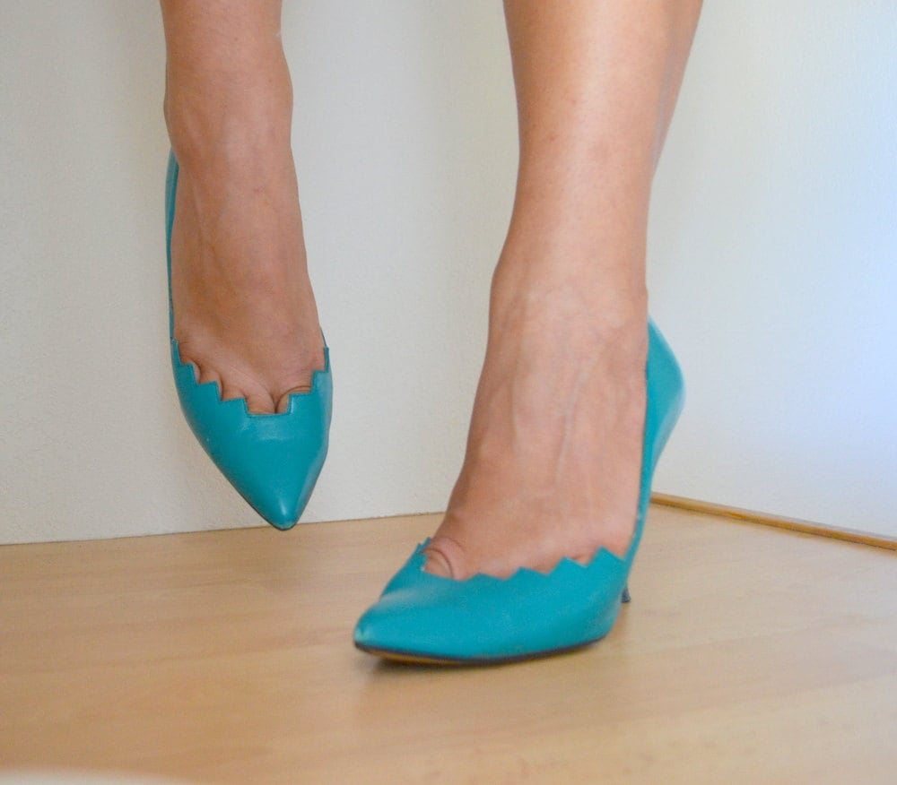 Vintage 1980s Turquoise Blue Zig Zag Spanish Leather High Heels - Sergio Zelcer Pumps Womens 6.5