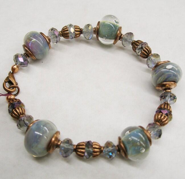 """Lampwork Glass Bracelet- """"Ocean Blue"""" SRA"""