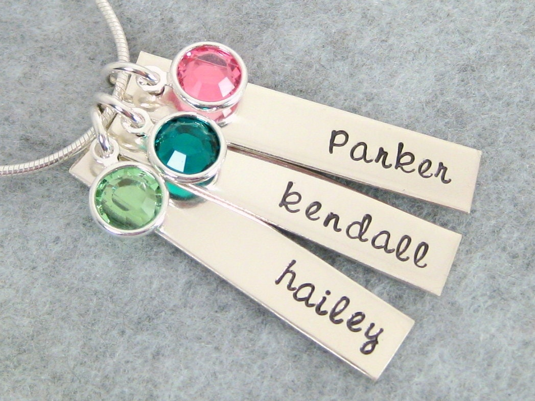 Hand Stamped Mother's Necklace - Three Personalized Tags with Names and Swarovski Birthstones - Grandma Necklace