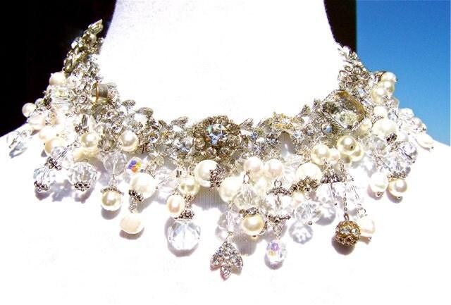 Vintage Rhinestone, Pearl Statement Necklace, Wedding Necklace by Dabchick Vintage Gems