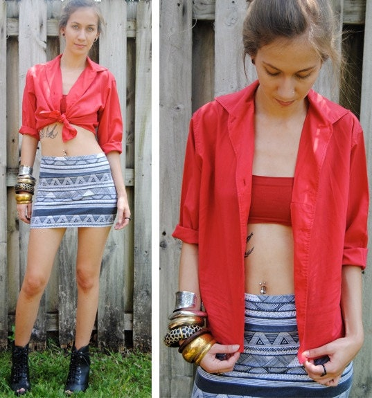 Vintage red three quarter sleeve button up XS/S/M