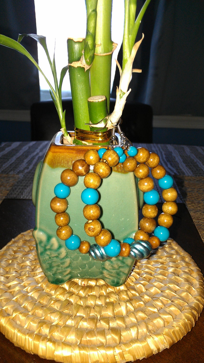 """Turquoise and Brown Wooden Beaded Hoop Earrings: """"Southwest Charm"""""""