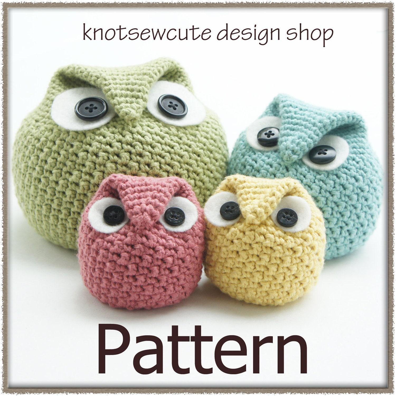 Free Crochet Pattern Owl Family : Chubby Owl Family Crochet Pattern PDF INSTANT by knotsewcute