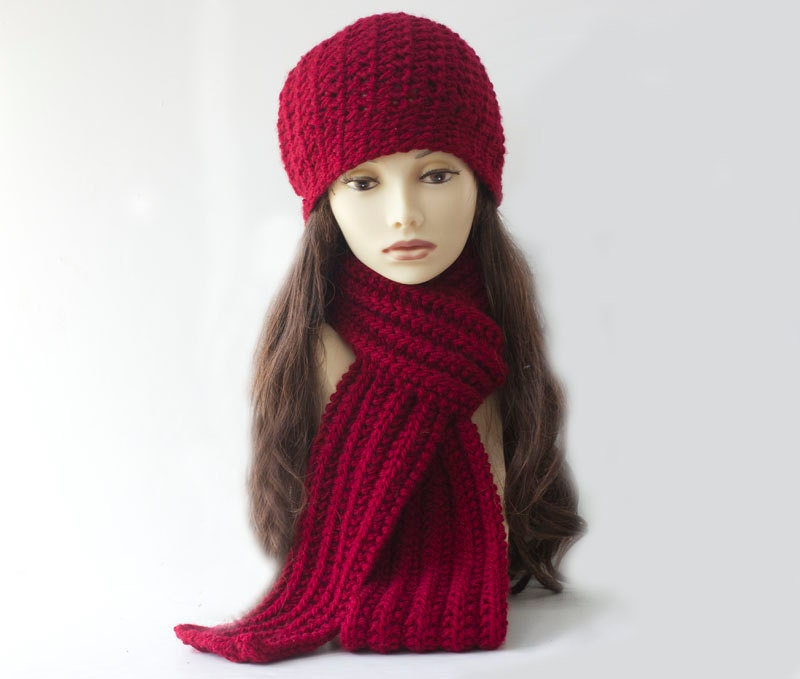 Hat Scarf Set Crimson Crochet Over Size Slouchy Hat and Knit Scarf Crochet Scarves And Hats