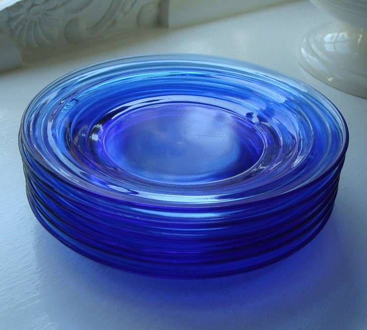 Six Cobalt Blue Depression Glass Plates By Staceyscottvintage