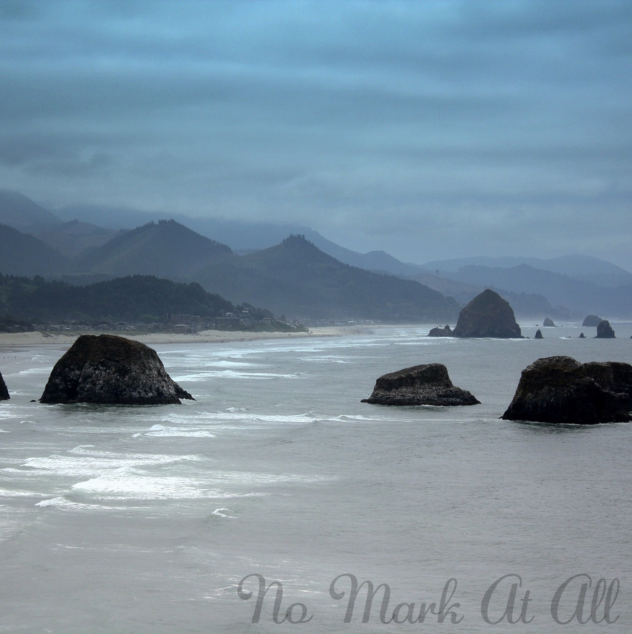 Oregon Coast Photo, Cannon Beach, Blue, Ocean, Shades, Mountains, White - 6x6 Print - NoMarkAtAll