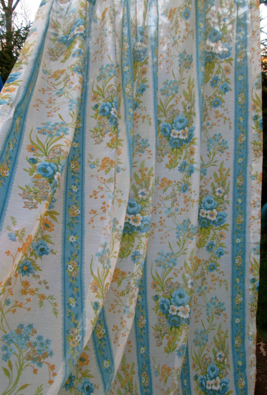 Vintage Floral Sheer Curtains by MonetsAttic on Etsy
