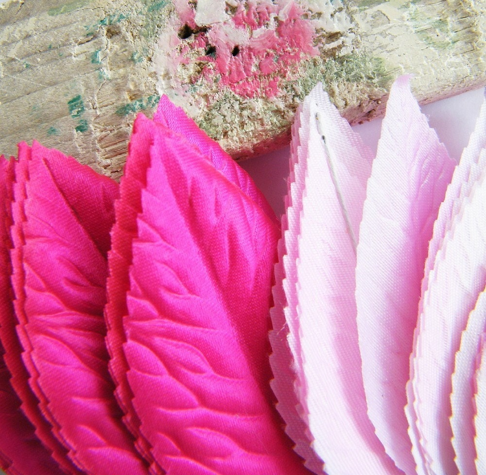 Vintage Hot Pink Fuchsia Millinery Leaves