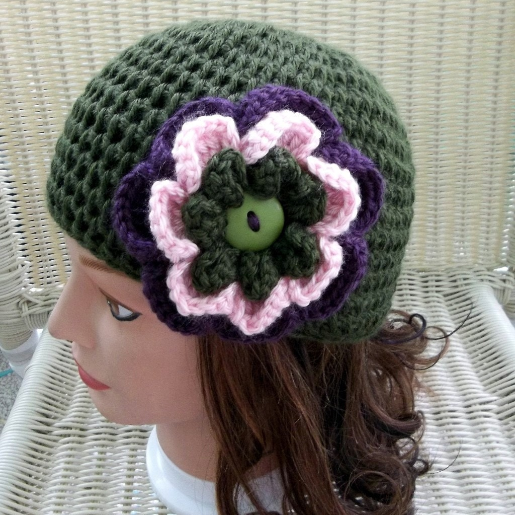 Crocheted Beanie Dark Sage with Flower Button Pin/Brooch Pink, Purple, Sage