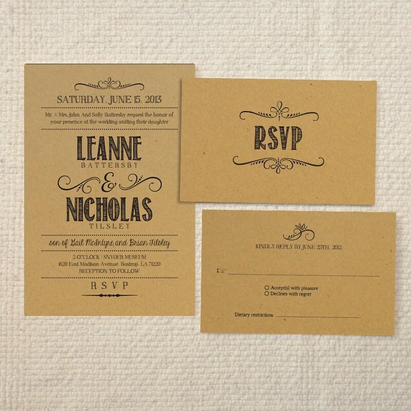 Free Rustic Wedding Invitation Printable Templates : kraft wedding invitations templates wedding invitations wedding rustic ...
