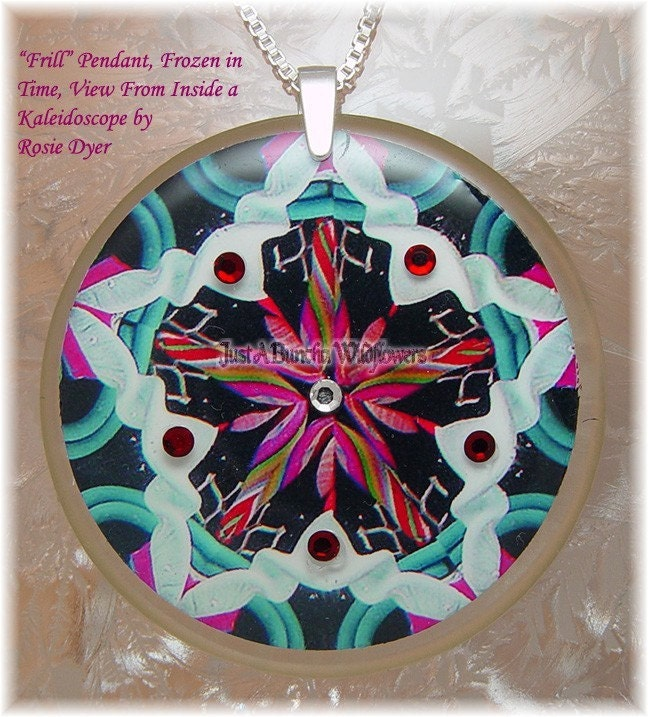 frozen in time colorful kaleidescope pendant