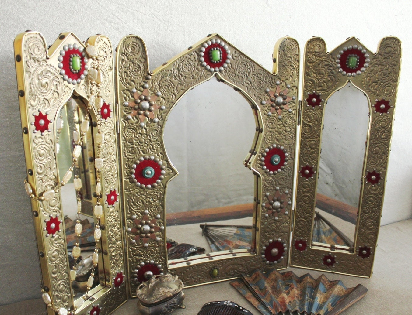 Vintage Moroccan Jeweled Stamped Brass Vanity By