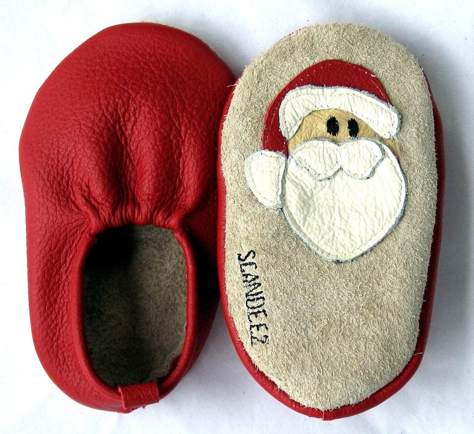 Baby Leather Santa Moks Sz 0-3M