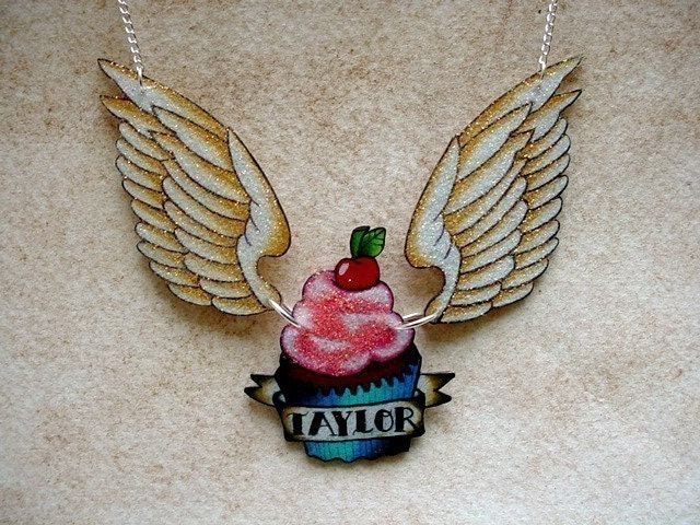 NEW tattoo cupcake and wings with custom banner necklace