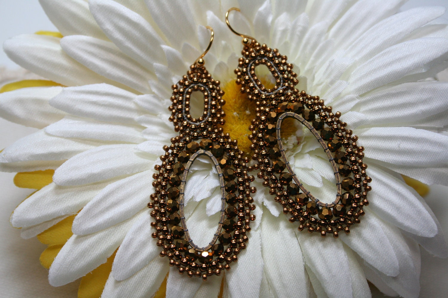 Victorian Antique Gold Vintage Lace Oval Long Earrings