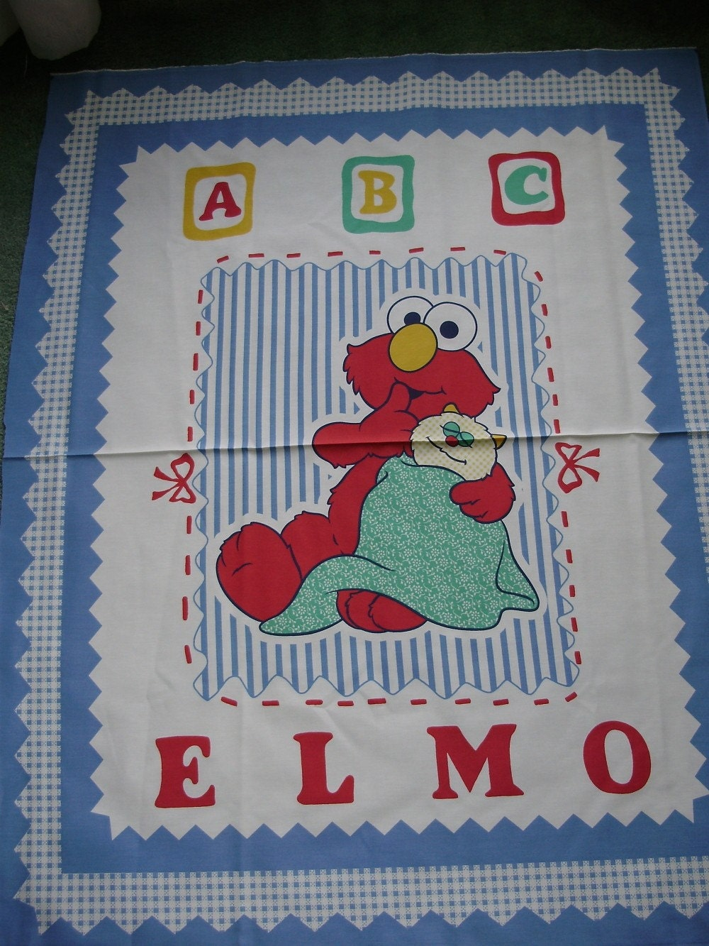 Quilt panel with elmo done in blue and white by quiltsbydebbie