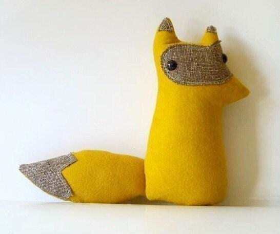 Handmade plush woodland fox, Grey Poupon - sleepyking