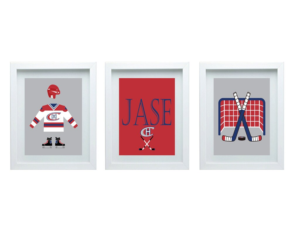 Montreal canadian hockey decor nursery art by fmdesignstudio for Room decor canada