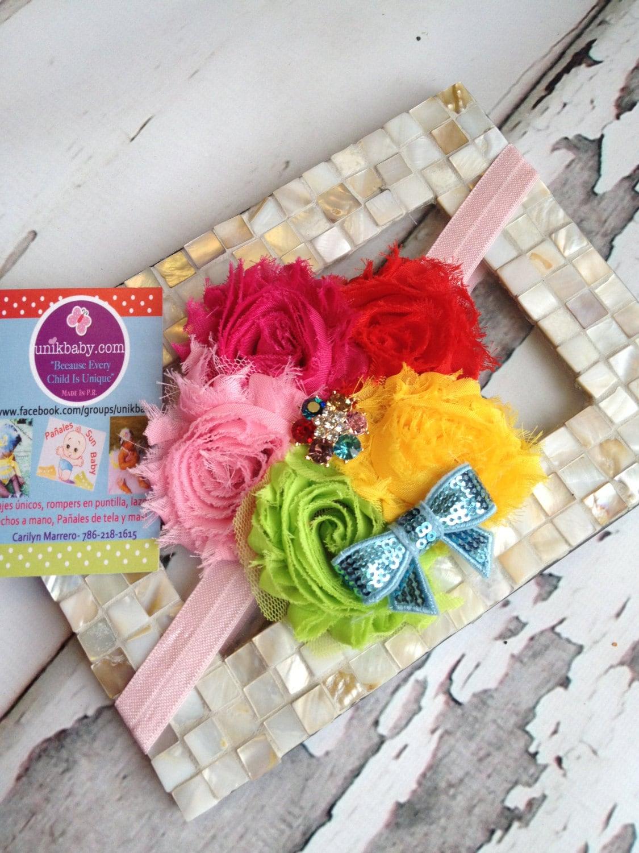 READY TO SHIP Unik Multicolor Rainbow Shabby Headband - Unikbaby