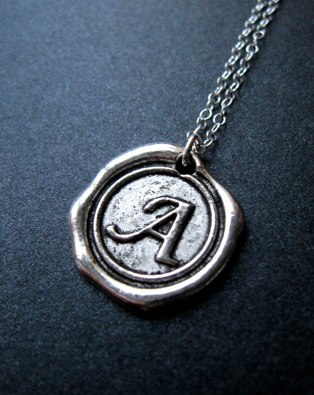 wax seal necklace initial necklace monogrammed by mysweetnomsa