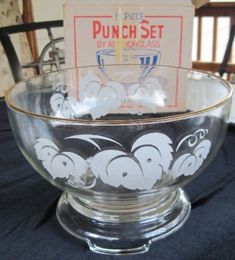 Punch bowl set Etsy