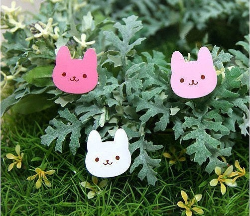 One sheet of 18pcs smile rabbit face stickers