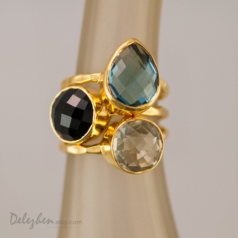 Statement Ring - Stacking Rings - Stackable Rings - Gemstone Ring-  Blue Topaz Ring - Gold Rings -  Vermeil Ring - delezhen