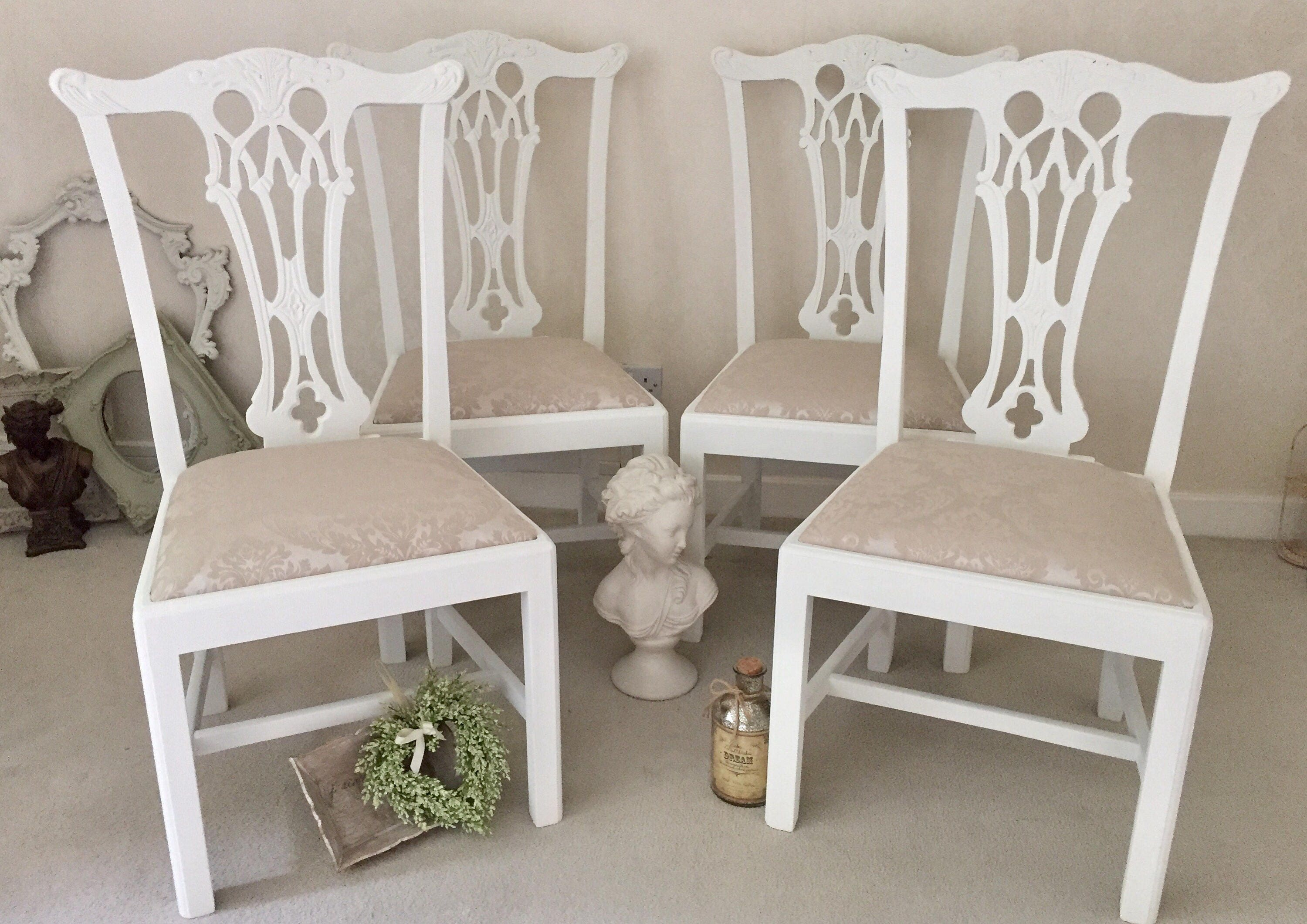 Shabby Chic Dining Chairs Kitchen Dining Room Chairs Antique Wooden Chairs French Vintage Set Of 4 Chairs.