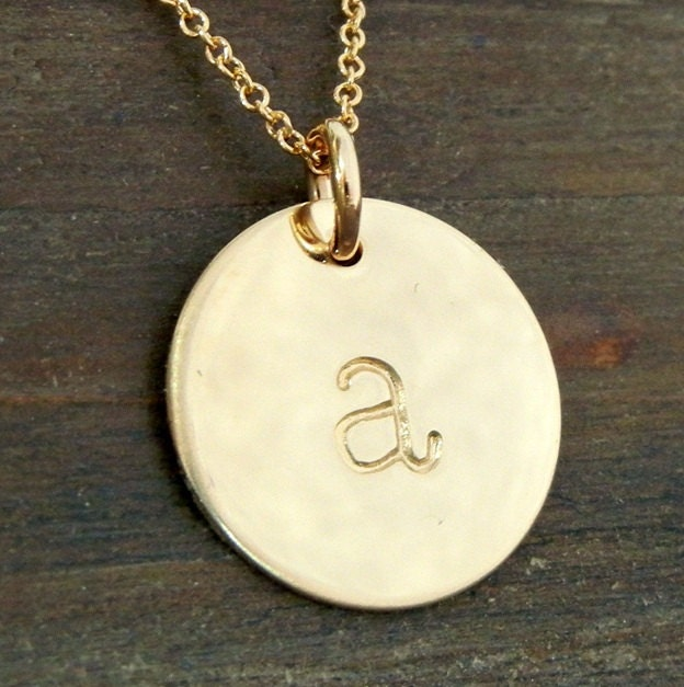 gold initial necklace chelsea gold lowercase by eriadesigns