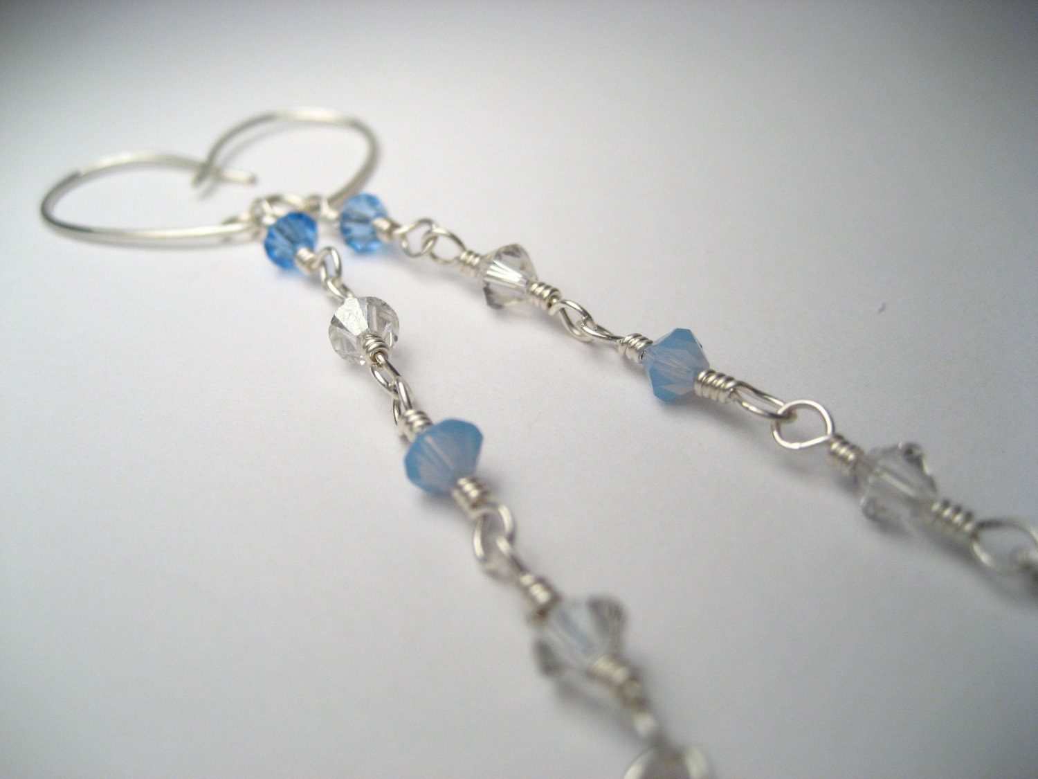 Blue & White Winter Dangle Earrings Long Sterling Silver