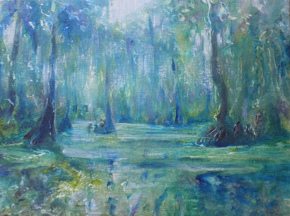 Spring in the Swamp original oil painting on board 12x9