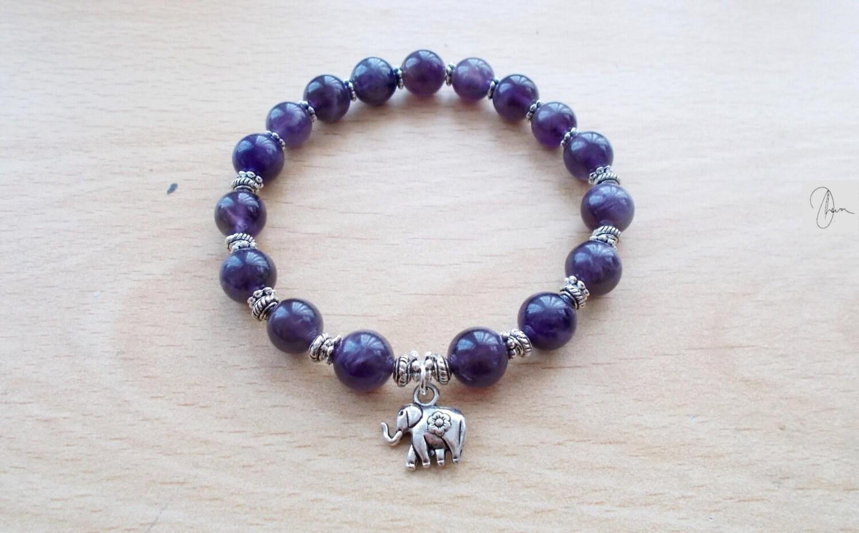 Amethyst Elephant Bracelet  Gemstone Yoga Meditation Jewelry  Reiki Crown Throat Chakra Stone  February Birthstone  SilverGold Jewelry