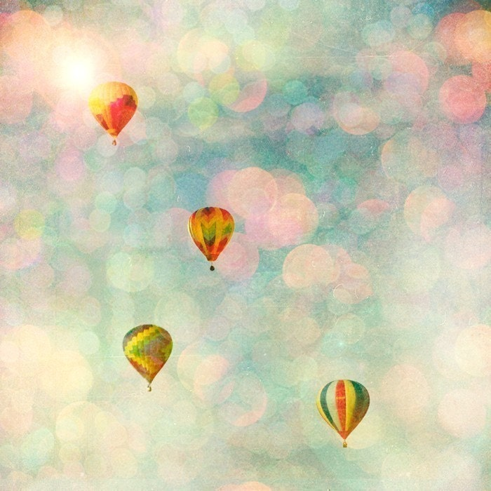 Floating - 10x10 pretty pastel balloons float above the summer festival perfect for nursery or child's room- Fine Art Carnival Photography Print