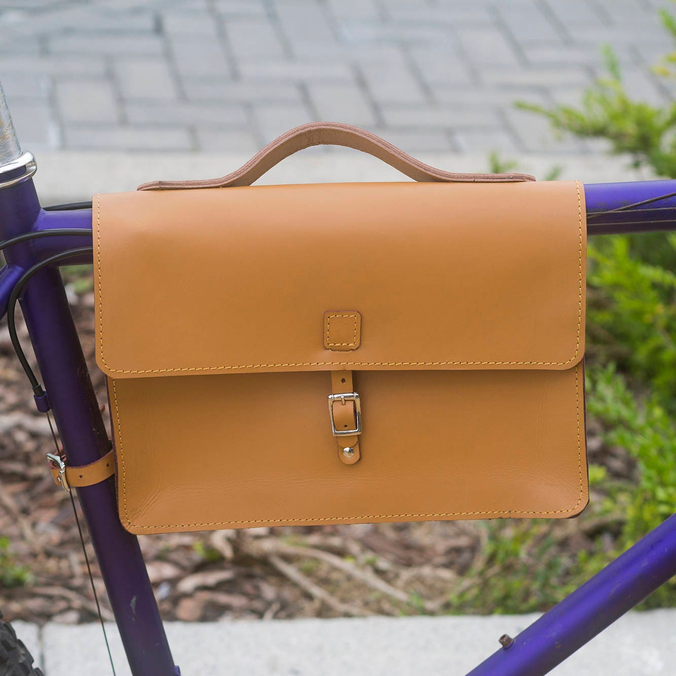 Bicycle Frame Satchel Bag Handcrafted Natural Leather HONEY 11.8x8.1x2.2