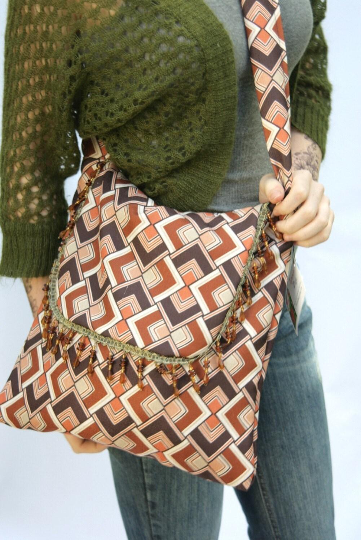 Eco Friendly Handmade Bag Purse Retro Reclaimed Vintage Fabric Beaded Trim