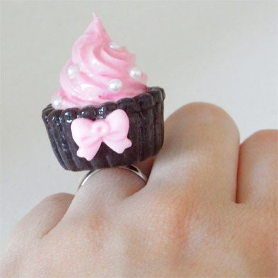 Pink and Black Cupcake Ring